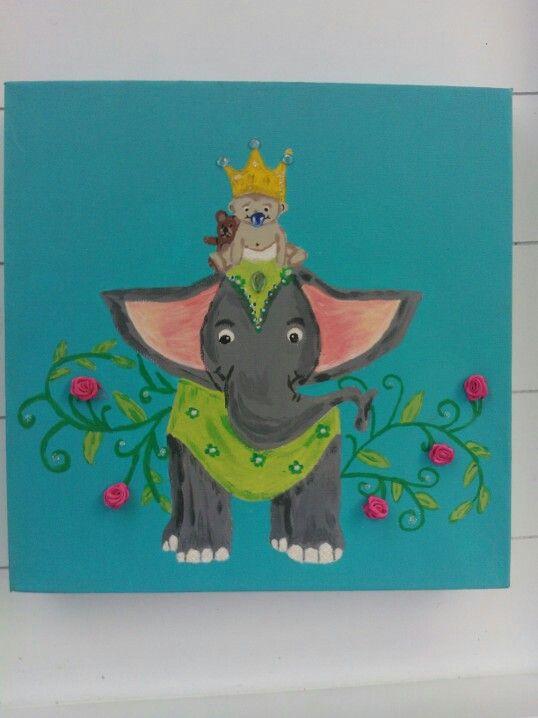 17 beste idee n over olifant schilderijen op pinterest olifant kunst olifanten en olifant canvas - Kinder schilderij ...