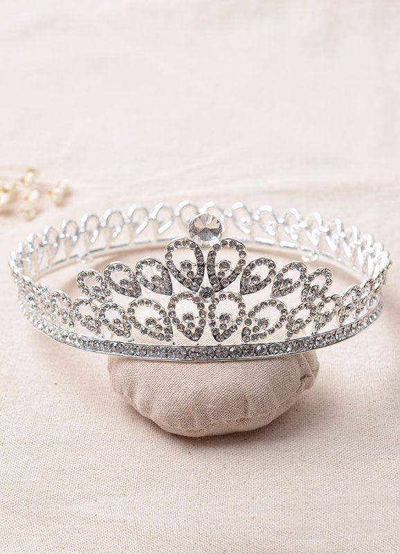 Silver Wedding Crown Rhinestone Alloy Annular Bridal Tiara