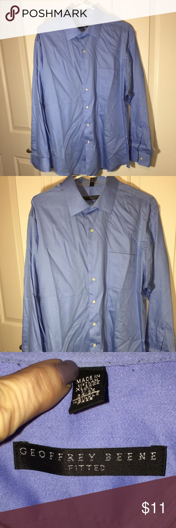 Geoffrey Beene shirt button down BLUE Men's long sleeved button-down shirt Geoffrey Beene. Size XL  17 1/2, 34/35 Blue   55% cotton 45% polyester     Shirt is in good used condition. Button cuff. Only mark on shirt is my last name MENDELSON on back of collar from dry cleaner. Geoffrey Beene Shirts Casual Button Down Shirts