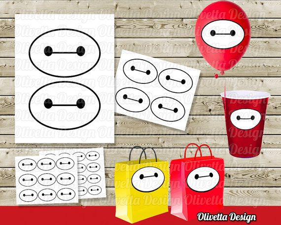 Big Hero 6 Baymax eyes Stickers Party Favor Tags Printable Big Hero Stickers For Birthday Party Digital PDF file INSTANT DOWNLOAD