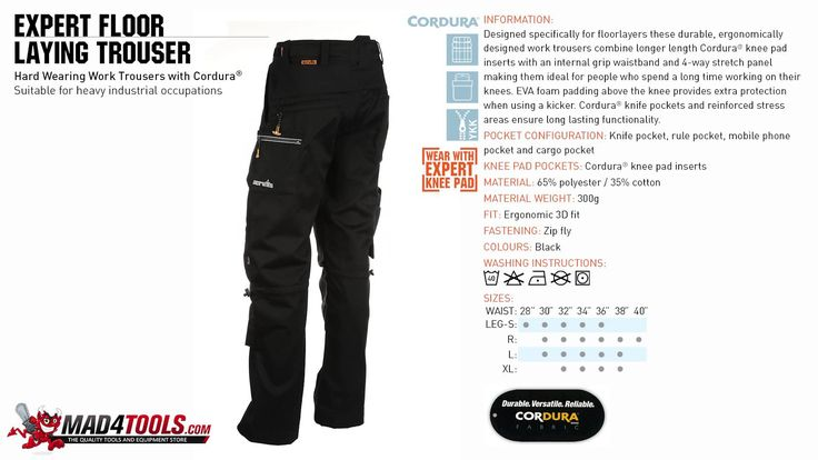 Scruffs 3D Expert Floor Laying Work Trousers Black (Sizes 28in-40in Wais...