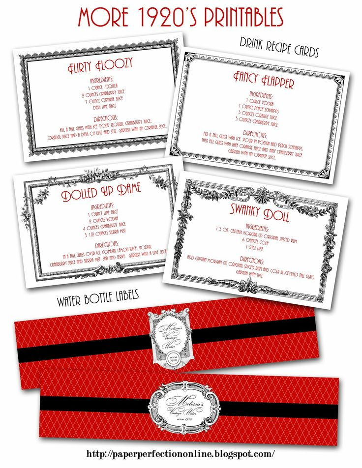 Drink Recipe Cards and bottle labels  Paper Perfection: Roaring Twenties (1920s) Party Invitations and Party Printables