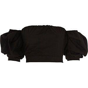 Black puff sleeve tie back bardot crop top