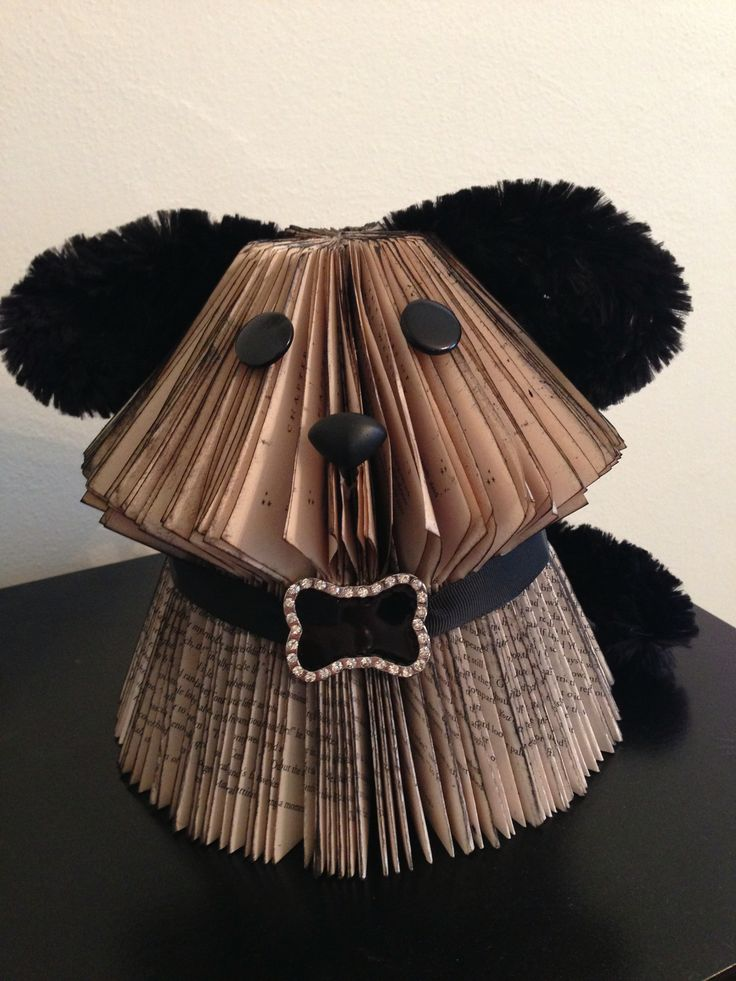 """I folded this in a Potter book thinking I'd name him Padfoot. However, I don't think this dog is scruffy enough to be Padfoot! The pattern is on my mainboard, """"Book Art Tutorials""""."""