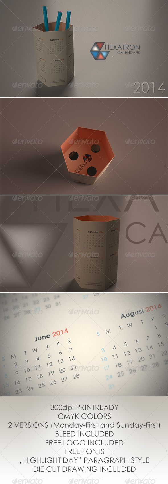 Hexatron Calendars 2014 #GraphicRiver Hexagonal based calendar in two versions (Monday-first and Sunday first) for 2014. - Printready 300dpi - Bleed included - DieCut drawing included in EPS format - Free fonts (Century Gothic Regular/Bold) - Logo included in EPS format Created: 15August13 GraphicsFilesIncluded: VectorEPS #InDesignINDD Layered: Yes MinimumAdobeCSVersion: CS4 PrintDimensions: 300x260 Tags: business #calendar #cmyk #creative #diecut #indesign #layered #modern #newyear #print…