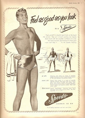 """""""Feel as good as you look"""" Speedo Vintage Ad In 1927 Speedo launched the revolutionary 'racer-back' style, which reduced fabric drag. In 1955, Speedo introduced the use of nylon for their racing swimwear. At the 1968, 1972 and 1976 Olympics, more than 70 per cent of all swimming medals were won by competitors wearing Speedo"""