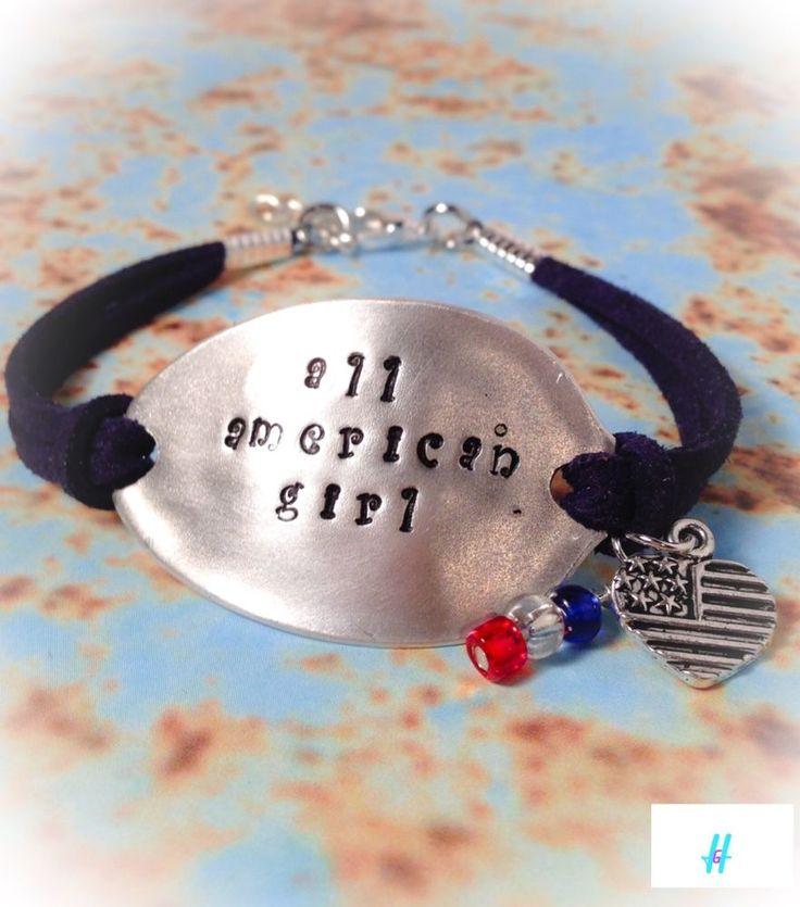 "Stamped Leather Spoon Bracelet Silverware Jewelry ""All American Girl"" USA  | eBay"