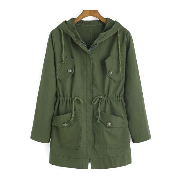 SheIn(sheinside) Army Green Hooded Drawstring LONDON Print Coat ($22) ❤ liked on Polyvore featuring outerwear, coats, jackets, tops, green, long hooded coat, long sleeve coat, long coat, long green coat and hooded coats