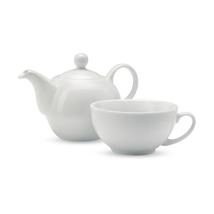 Set da tè con teiera e tazza in ceramica  in singola confezione nera
