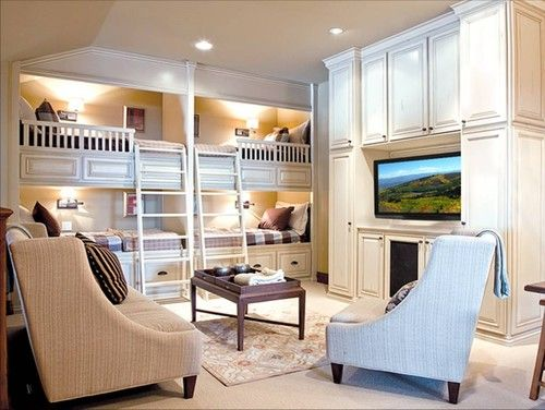 Combination Bunk Room & Family Room with a Media Center.
