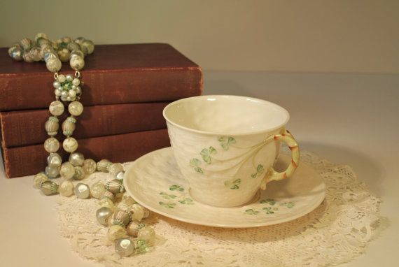 Belleek Shamrock Basket Weave Teacup Belleek Teacup by RetroEnvy21