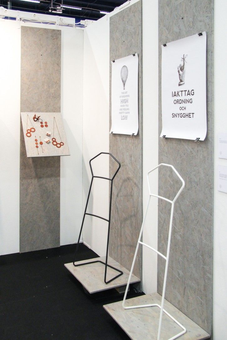 Cool posters and the clothes hanger Sindy! #nordicdesigncollective #formex #formex2014 #fair #design #designfair #stockholm #stockhomsmassan #wplusm #sindy #poster #print #jewelry #leather #black #white #interiordesign #homedecor