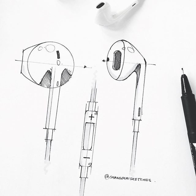 Happy Thursday w/ these EarPods by @changmaisketches. . . . . #instilldesign #idsketching #sketch #sketching #sketchdemo #sketchbook #markersketch #copicmarkers #doodle #pencilsketch #representation #glass #aluminum #productdesign #illustration #productdesignsketching #industrialdesign #industrialdesignsketch #sketchoftheday #sketchaday #designer