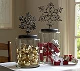 Snowflake Topped Canister, Pottery Barn $ 69-89! Can you say pickle jar, spray paint the top and add an xmas ornament all for around $ 1