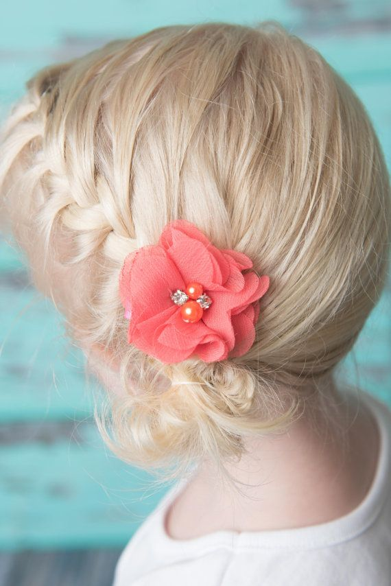 Coral hair clips, 2 clips, chiffon flower clip, piggy tail hair clips, toddler hair clip, baby hair clip, baby shower gift, flower girl clip