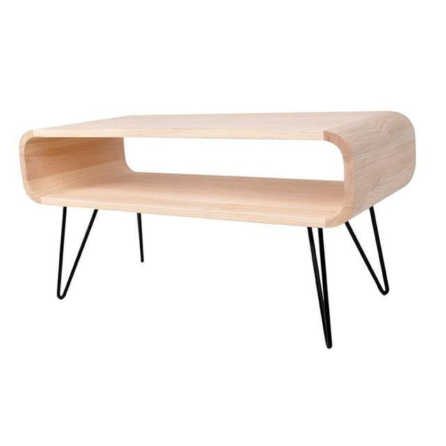 Table Basse Ronde En Bois Naturel Et Noir Xl Boom 2 Tailles Table Basse Ronde Bois Table Basse Ronde Table Basse
