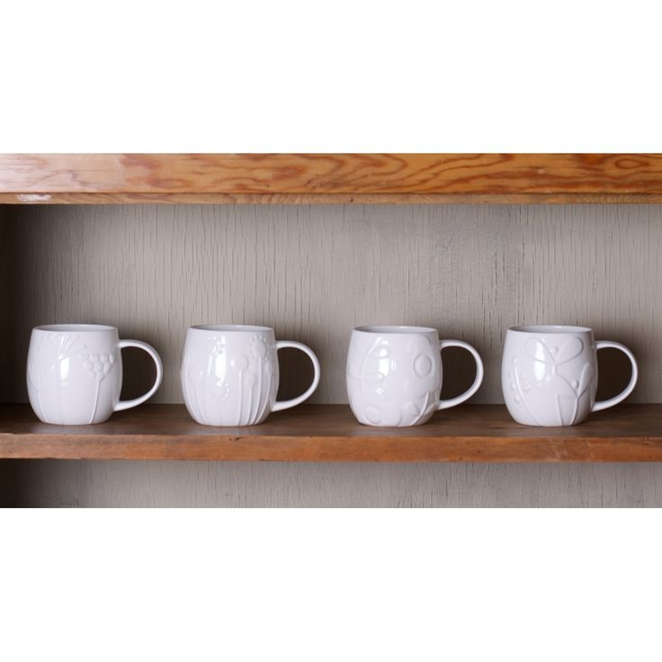 Relief Patterned Bone China Mugs by Repeat Repeat #gifts #china #mugs