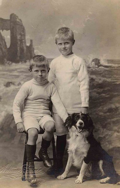 Vintage photo, brothers with their dog