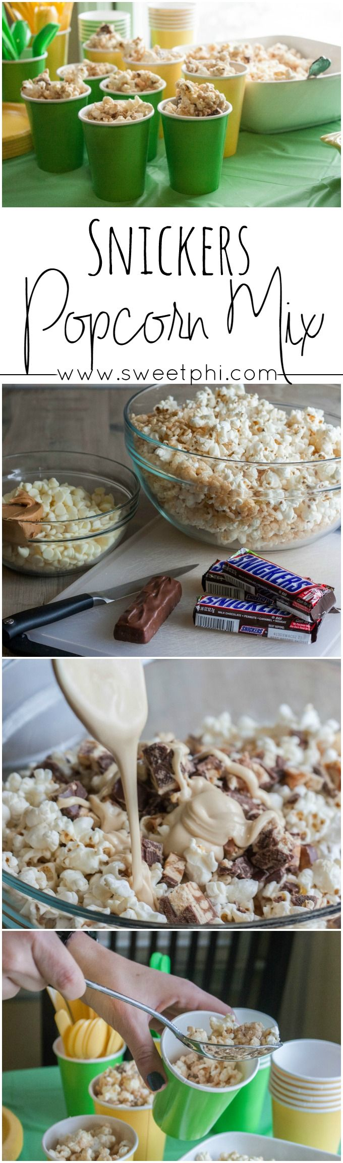 Snickers popcorn mix, football party food, game day snacks, #gamedayfood #footballparty #popcornmix , the best and most addictive popcorn mix, the best popcorn snack, white chocolate peanut butter popcorn http://www.sweetphi.com/green-gold-football-party-skittles-cupcake-snickers-popcorn-mix/