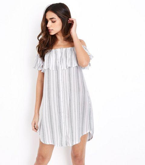 White Stripe Bardot Neck Beach Dress | New Look