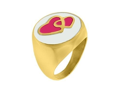 Stainless Steel Ladies Ring with Red Hearts - Model X15R1041-01