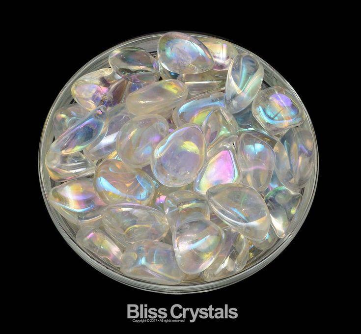 1 CLEAR QUARTZ Titanium Rainbow Aura Tumbled Stone Opal Aura