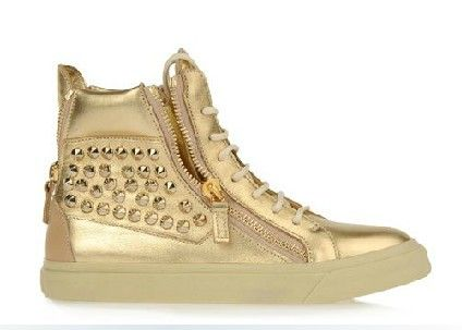 Fashion Brand Men Sneakers Shiny Gold Studded Leather High-Top Giuseppe Shoes for Men Sneakers Side Zip Lace-Up