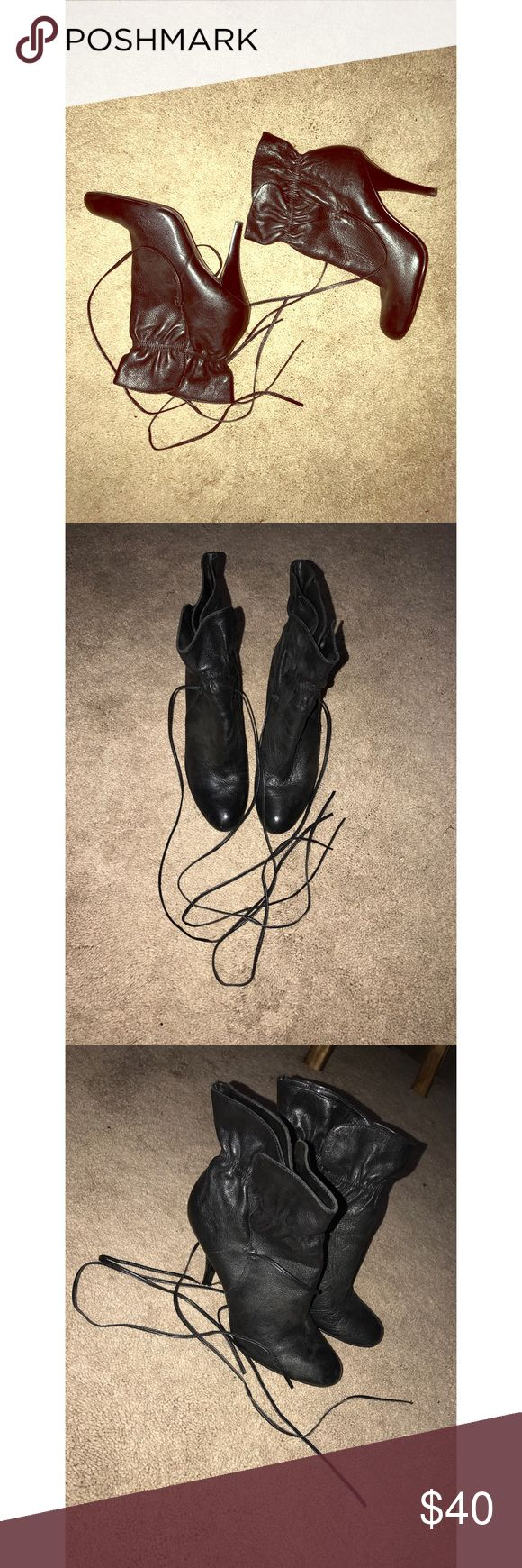 Calvin Klein Booties Leather Calvin Klein Booties/ Women 8.5 / worn MANY Xs. In Good Condition! A bit dusty, scuffmarks. Calvin Klein Shoes Ankle Boots & Booties