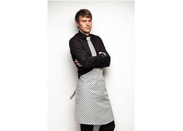 Tie & Apron - schort en das in één - wit met grijze strepen - www.legoutdescouleurs.be