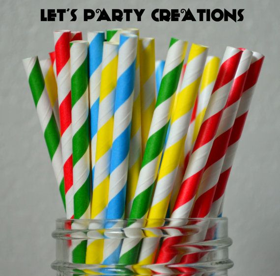 Sesame Street Party, 25 Stripe Sesame Street Paper Straws, Super Hero Party, Primary Color Birthday Party,  Boy Baby Shower ,Diy Flag