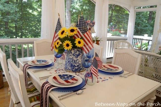 Fun 4th of July decorJuly Parties, Tables Sets, 4Th 2013, Fourth Of July, Concept Parties, July Tables, 4Th Of July, July 4Th, July Porches
