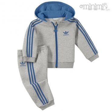 Photo Adidas Originals survêtement enfant I HFL TS Gris chiné et bleu #mode #enfant #kid #sneakers