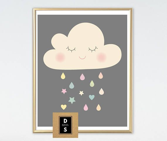digital printable boy girl baby nursery art cloud