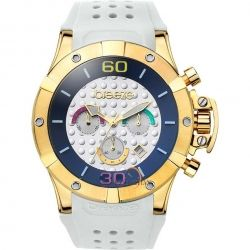 BREEZE Summer Daze Chrono Gold White Rubber Strap