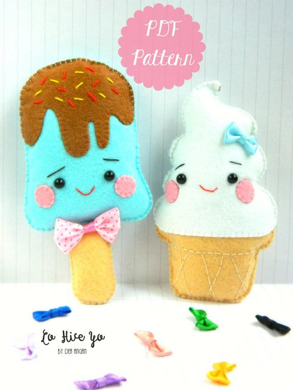 PDF Pattern: Kawaii Ice Cream Plushies. Felt Pattern. Plushies Pattern. Softies Pattern. Food Toy Pattern - Instant Download