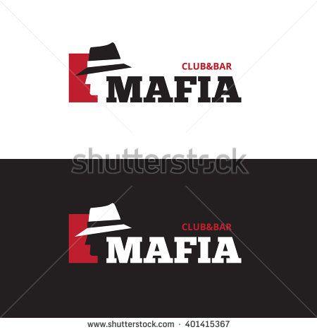 Vector minimalistic negative space man in hat logo. Mafia bar logo