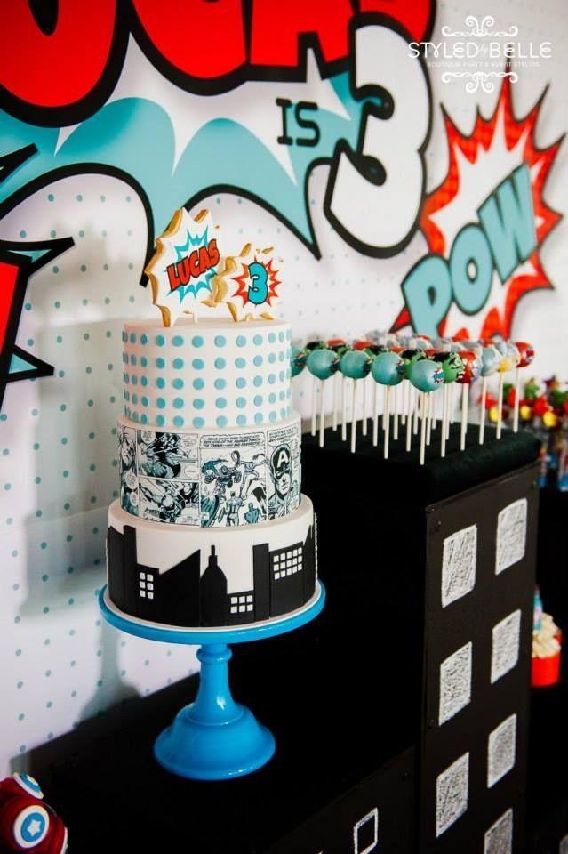 boy's superhero birthday party cake ideas www.spaceshipsandlaserbeams.com