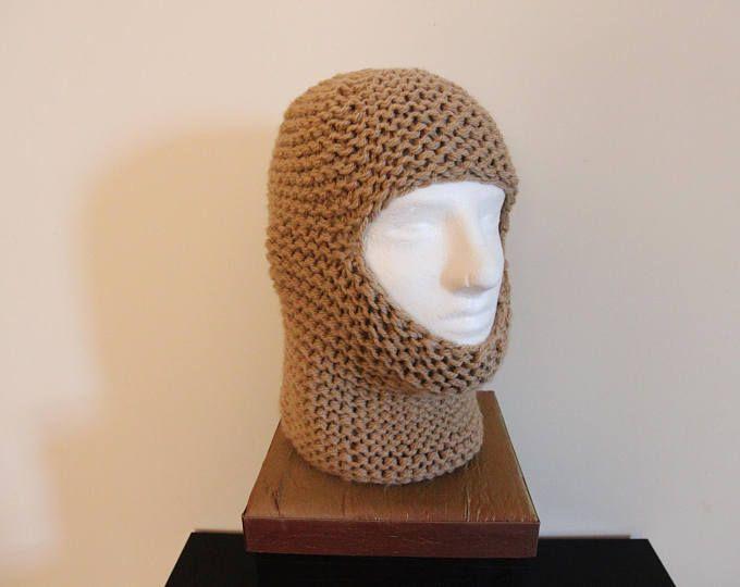 Knit Balaclava Wool Fisherman's Hat Slouchy Beanie Knit Ponytail Hat Multiple Ways to Wear Handmade Winter Balaklava in Taupe IrinaKdesigns