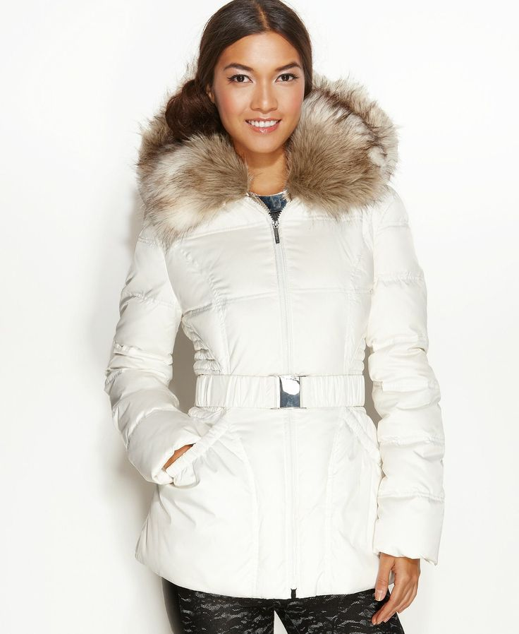 Laundry by Shelli Segal Jacket, Faux-Fur-Trim Hooded Belted Puffer - Coats - Women - Macy's
