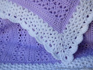 NEW AVAILABLE FOR FREE A lacy, girly baby blanket perfect for beginners! Uses only basic stitches, but comes out looking far more intricate.