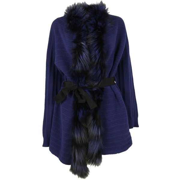 Blumarine Woman Blue Wool Coat With Fur ($1,485) ❤ liked on Polyvore featuring outerwear, coats, blu cobalto, blumarine, blue wool coat, blue fur coat, woolen coat and wool coat