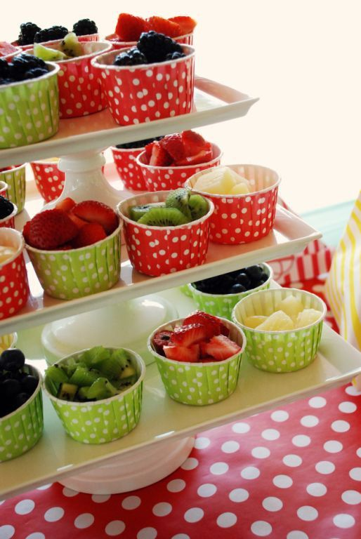 Serving idea - use cup cake holders to serve fruit, popcorn, whatever on stacked cake stands.