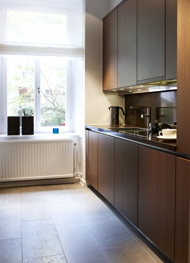 beautiful dark wood small kitchen