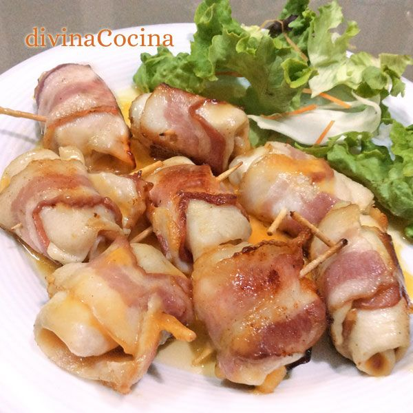 Estos rollitos de pollo, bacon y queso se preparan en un momento, con solo 3 ingredientes. Resultan un entrante vistoso y lleno de sabor.
