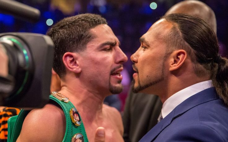 Danny Garcia, left, and Keith Thurman jaw after Garcia's victory against Samuel Vargas Saturday night. (Photo by Ryan Hafey, PBC)