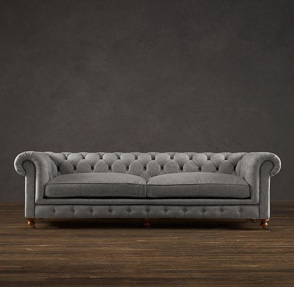 "My next couch!!!  98"" Kensington Upholstered Sofa in Brushed Linen Cotton FOG   Restoration Hardware"