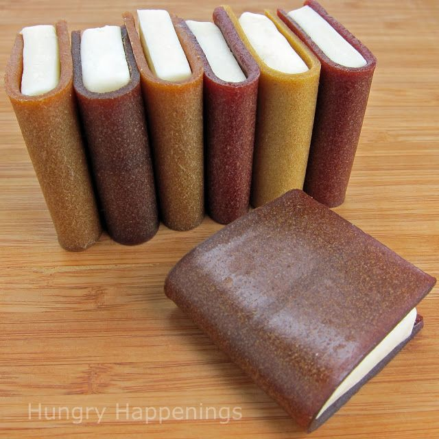 Hungry Happenings: How to create school books using corn syrup free modeling chocolate and fruit leather. A fun snack for end of the school ...