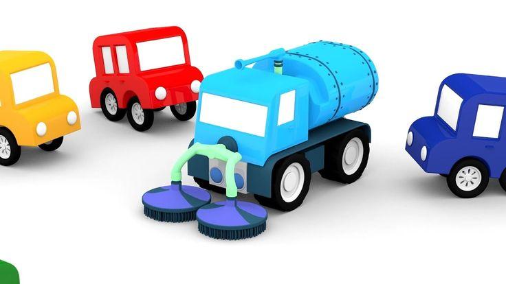 Cartoni animati per bambini: macchinine colorate e la spazzatrice