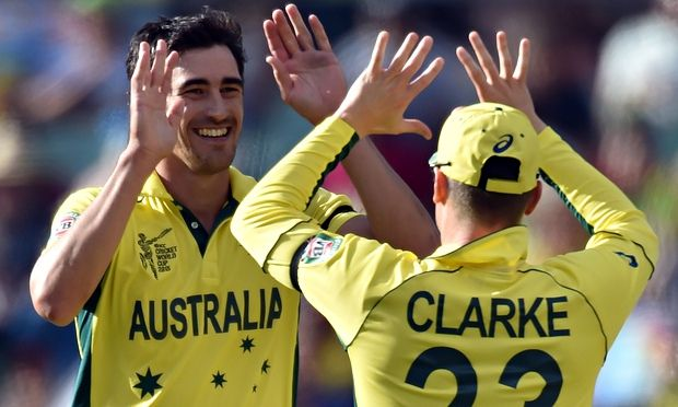 Australia's bowling attack has been spearheaded by Mitchell Starc, left, rather than Mitchell Johnson during the Cricket World Cup. Photograph: Saeed Khan/AFP/Getty Images