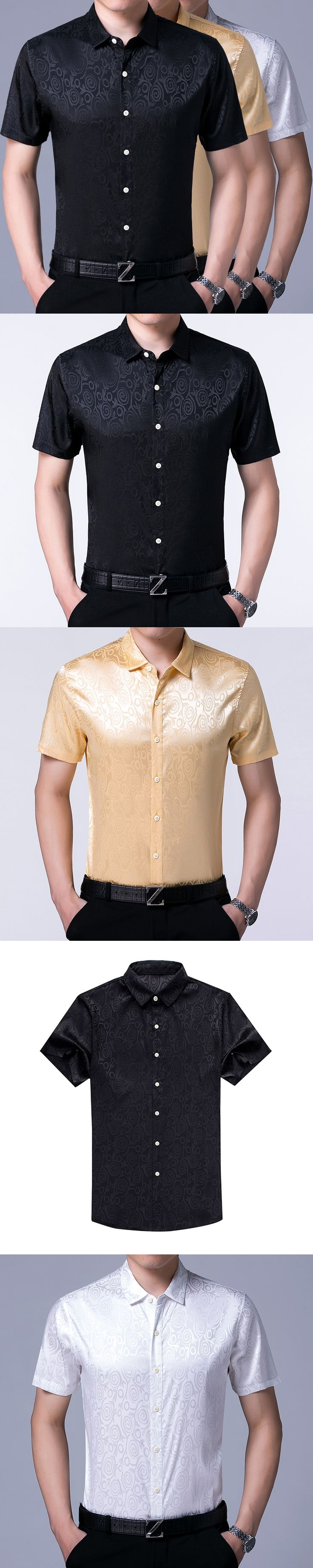 Mens silk dress shirt summer fashion design male casual business office satin silk shirts short sleeve